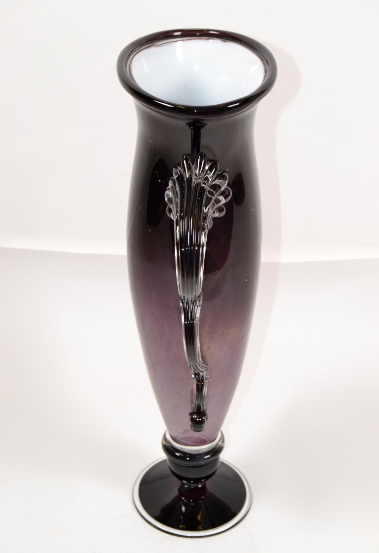 Signed Venetian Murano Purple, Black and Clear Hand Blown Art Glass Flower Vase In Good Condition In Miami, FL