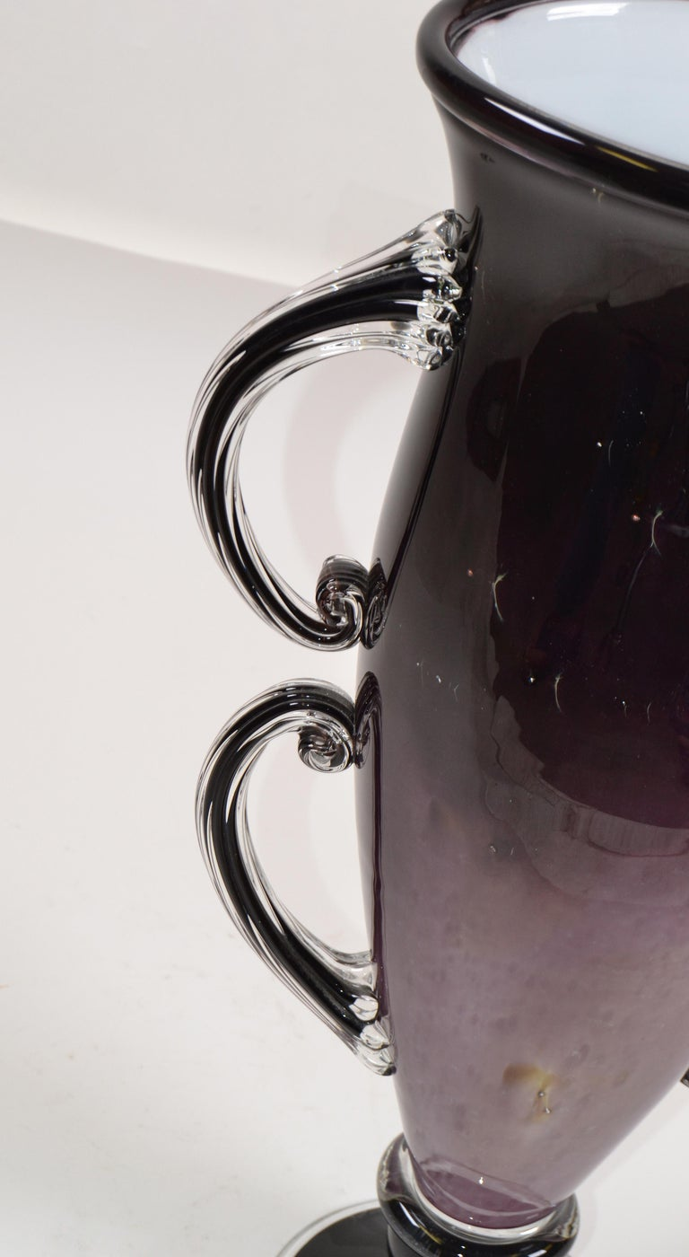Late 20th Century Signed Venetian Murano Purple, Black and Clear Hand Blown Art Glass Flower Vase