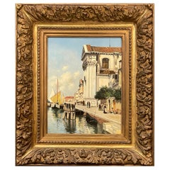 Eduard Vitali Signed Venice Oil on Panel Painting