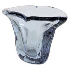 Signed Venini Mid-Century Modern Blue Murano Art Glass Vase