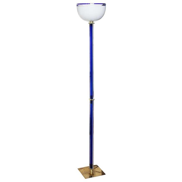 Signed Venini Vintage Murano Glass Floor Lamp, Signed