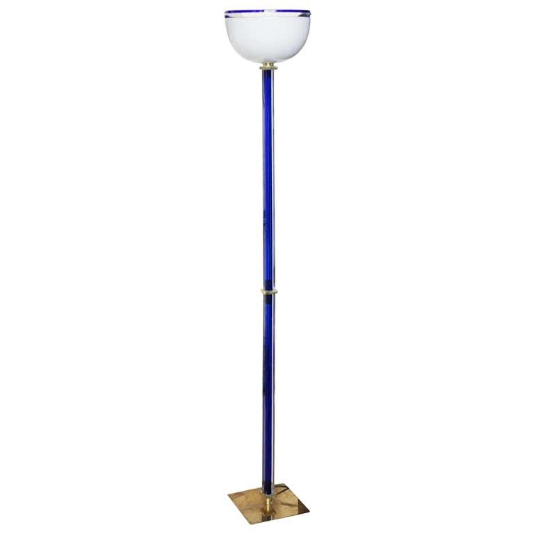 Signed Venini Vintage Murano Glass Floor Lamp, Signed For Sale