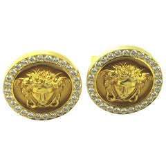 "Signed ""Versace"" 18 Karat Yellow Gold and Diamond Cuff Links"