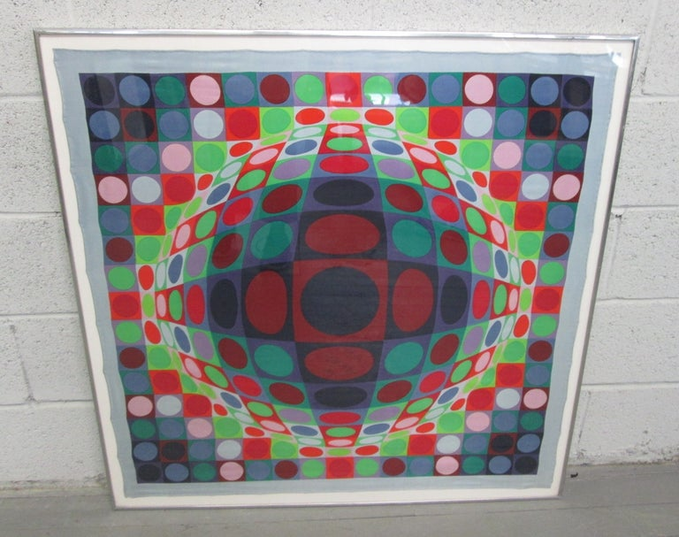 Framed, color screen-print on silk scarf. Untitled. 138/150. Measures: 37