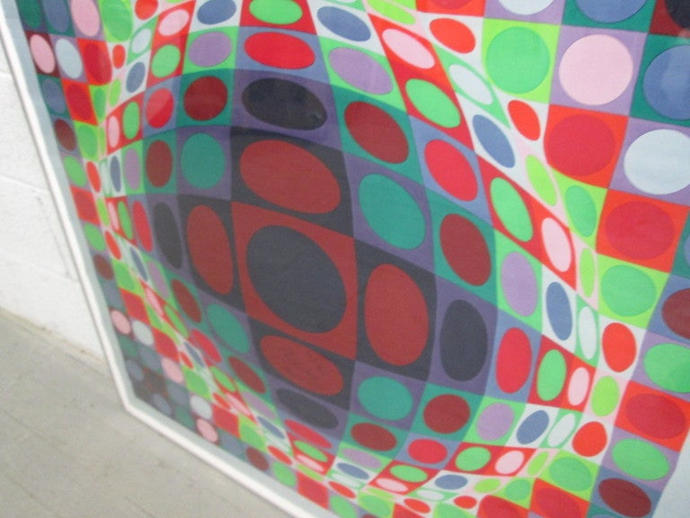 Mid-Century Modern Signed, Victor Vasarely 1969 Op Art Silk Scarf Screen-Print For Sale
