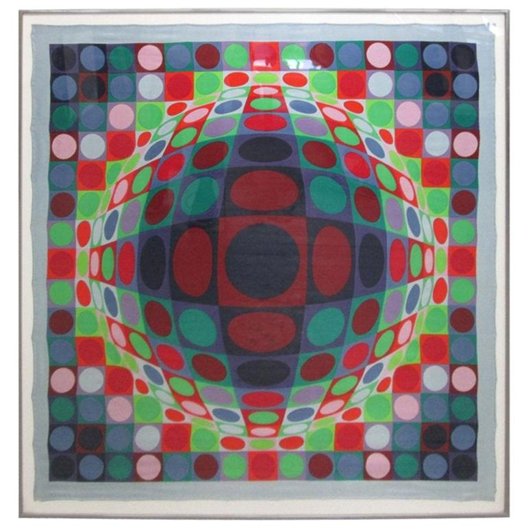 Signed, Victor Vasarely 1969 Op Art Silk Scarf Screen-Print