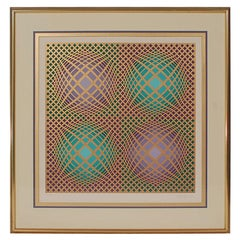 "Signed Victor Vasarely Op-Art Serigraph ""Vilag"" with COA"