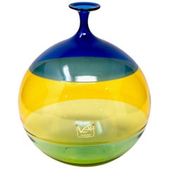 Signed Vinciprova Color Block Murano Glass Vase