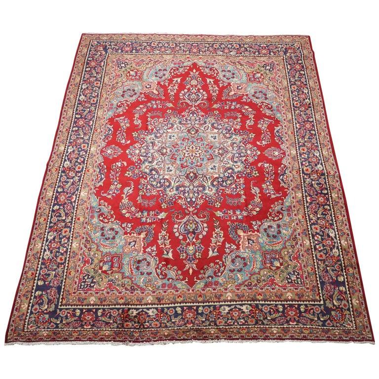 Signed Vintage Persian Tabriz Rug, Circa 1960 For Sale At