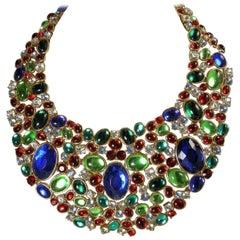 Signed Vintage Scaasi Multi-Color Bib Necklace