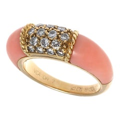 Signed Vintage Van Cleef & Arpels Coral Diamond Philippine Collection Ring