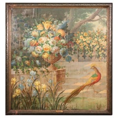 Signed Vladimir Pavlosky Oil on Canvas of Peackcock and Flowers Dated 1927