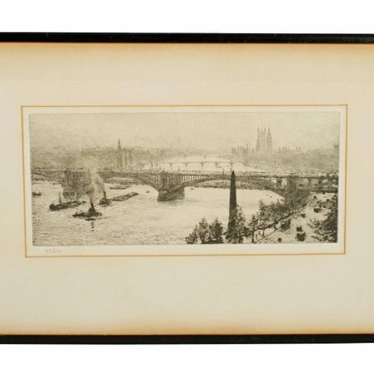 A signed etching by William Lionel Wyllie (1851-1931) of Hungerford bridge on the Thames.  The scene shows Hungerford bridge in the foreground with Westminster bridge, Lambeth suspension bridge and to the right hand side Cleopatra's needle.  The