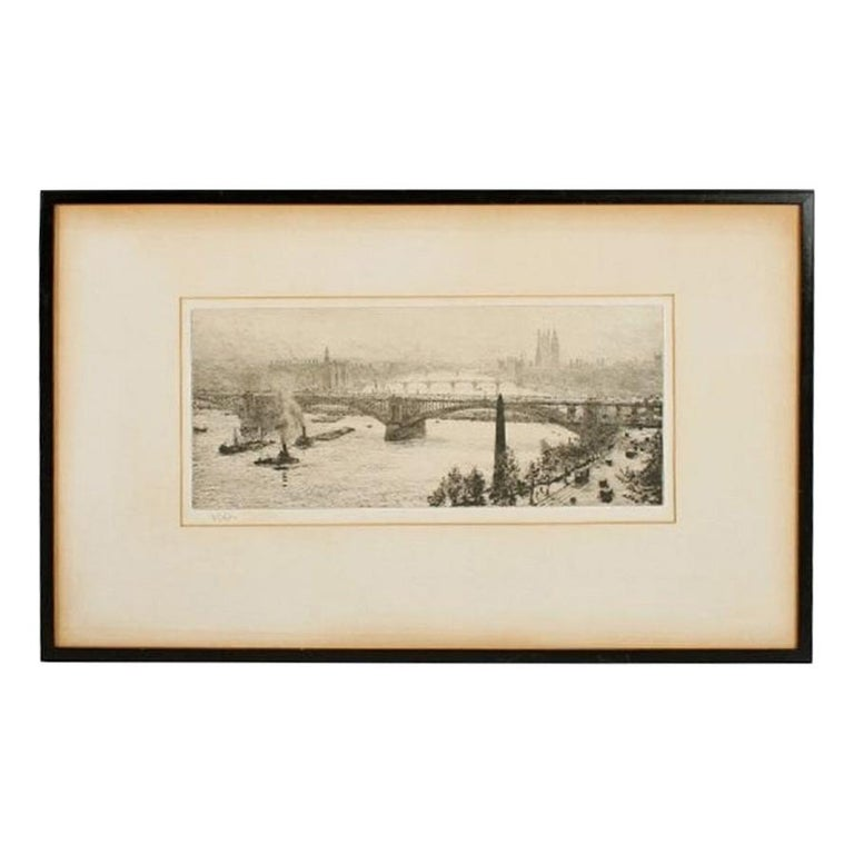 Signed W L Wyllie Etching, 20th Century For Sale