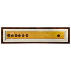 Signed Water Color Contemporary Painting Titled in a Mahogany and Ebony Frame
