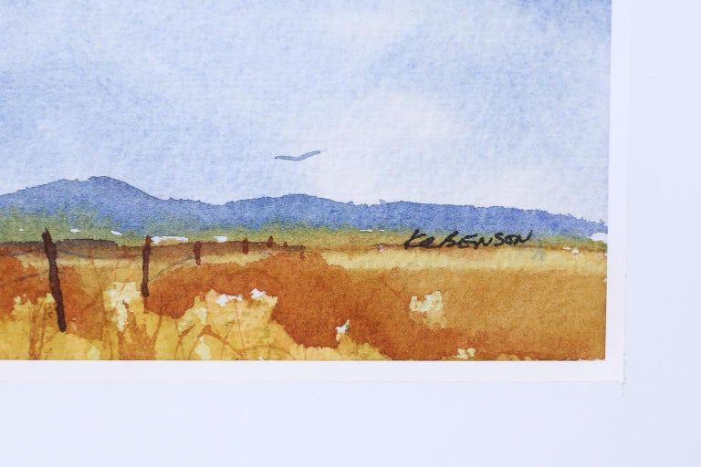 Hand-Painted Signed Watercolor Landscape For Sale