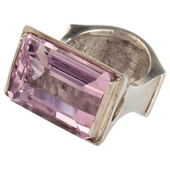 Signed Wesley Emmons Mid-Century Modern Sterling Silver and Amethyst Ring, 1970s