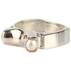 Signed Wesley Emmons Mid-Century Modern Sterling Silver and Double Pearl Ring