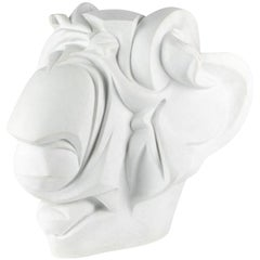 Signed White Stone Carved Head in the Manner of Umberto Boccioni