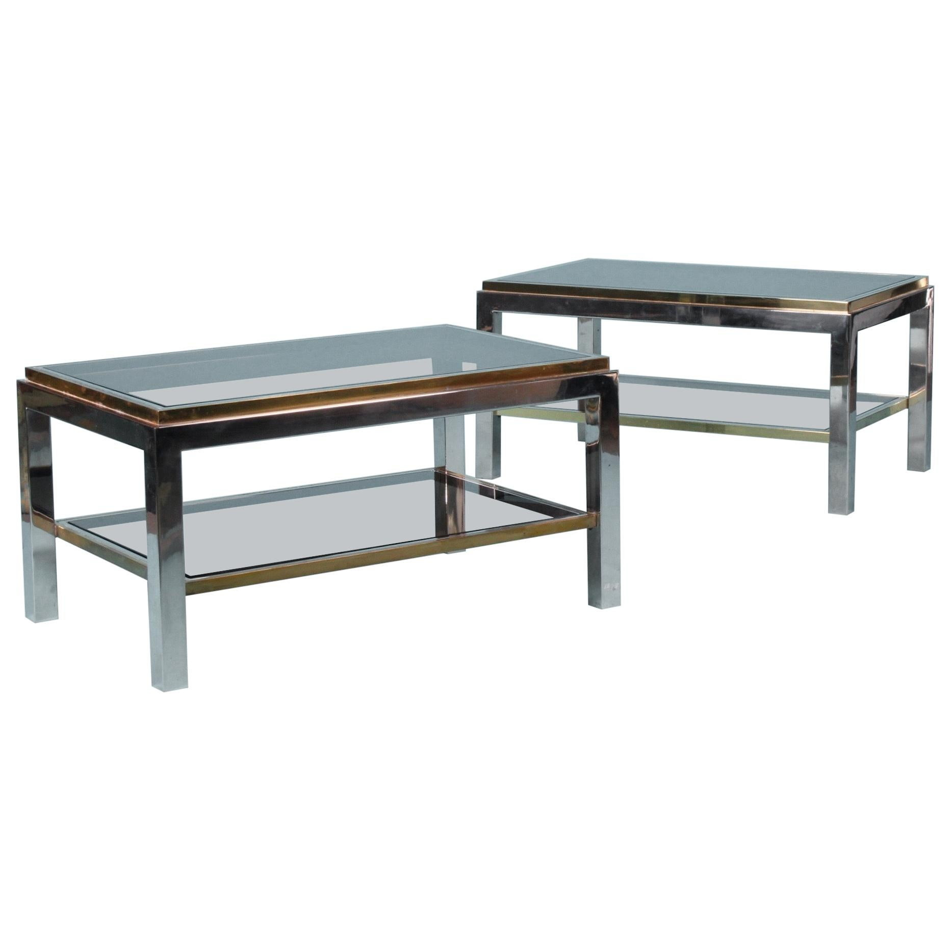 Signed Willy Rizzo Pair of Coffee Table