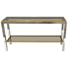 Signed Willy Rizzo Two-Tier Chrome &  Brass Console Table Smoked Glass Italy 60s