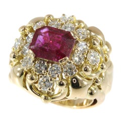 Signed Wolfers 6 Carat Untreated Ruby and Diamond Cocktail Ring