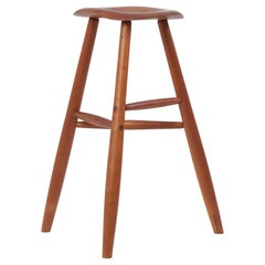 Signed Wooden Studio Bar Stool by an American Craftsmen, 1984, US