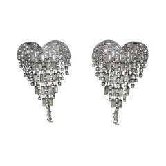 Signed Yves Saint Laurent Sparkling Crystal Heart Dangle Statement Clip Earrings