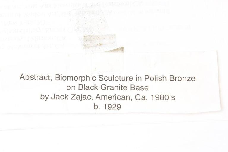 Jack Zajac Bronze and Black Granite Biomorphic Abstract Sculpture 6