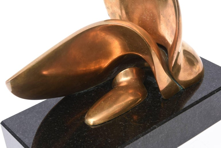 Jack Zajac Bronze and Black Granite Biomorphic Abstract Sculpture 1