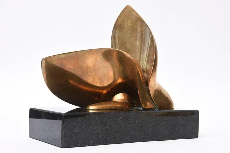 Jack Zajac Bronze and Black Granite Biomorphic Abstract Sculpture 2