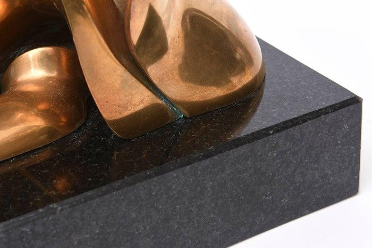Jack Zajac Bronze and Black Granite Biomorphic Abstract Sculpture 3