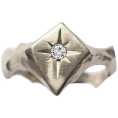 Signet Kite Shaped Star Engraved 14 Karat White Gold Diamond Ring