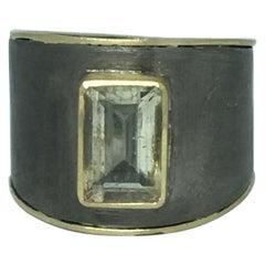 Signet Ring, 14 Karat Gold, Oxidized Silver, Aquamarine and Diamonds