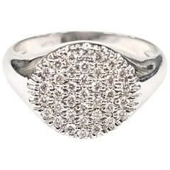 Signet Ring Pavé-Set with White Diamonds in 18 Karat White Gold
