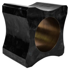 Signet Stool in Black Pen Shell and Bronze-Patina Brass by Kifu Paris