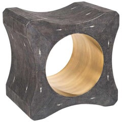 Signet Stool in Black Shagreen & Bronze-Patina Brass by Kifu Paris