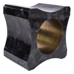 Signet Stool in Blue Pen Shell and Bronze-Patina Brass by Kifu Paris