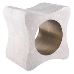 Signet Stool in Cream Shagreen and Bronze-Patina Brass by Kifu Paris