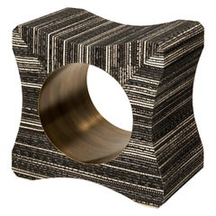 Signet Stool in Woven Snakeskin and Bronze-Patina Brass by Kifu, Paris
