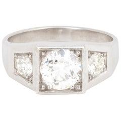 Signet Trilogy 1.65 Carat Old-Cut Diamonds 18 Carat White Gold Ring