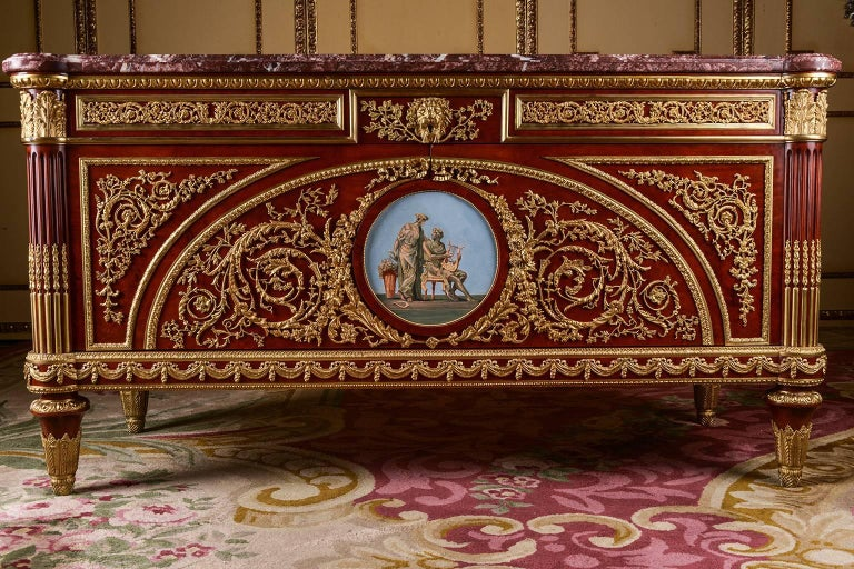 Special Sale only this Week.  Veneered roots on solid oak and pine. Exceptionally fine engraved and richly moulded bronze Appliqués. Right Angled Body. In the bowed front can be found two wide doors with recessed contents, flanked by conical,