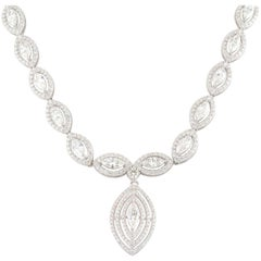 Significant Marquise Cut Diamond Set Drop Choker Necklace 14.37 Carat