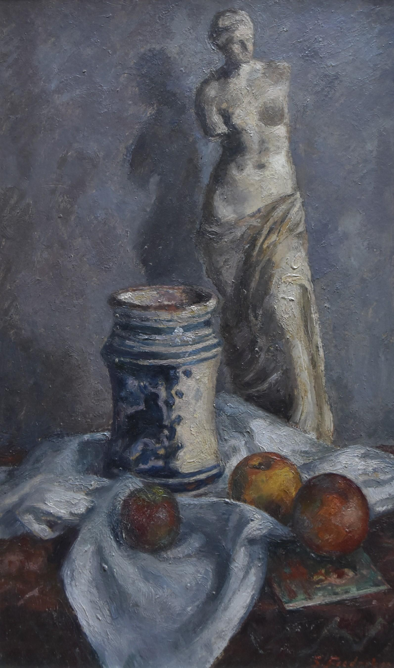 Sigurd Frederiksen (1907-1986) Still-life with a scupture, oil on panel, signed
