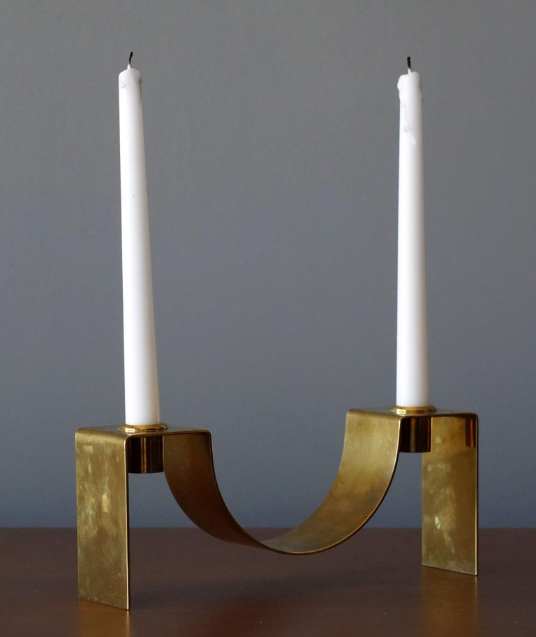 A rare candlestick / candleholder. Designed and produced by Swedish / Finnish silversmith and designer Sigurd Persson (1914-2003).  Other designers of the period include Josef Frank, Estrid Ericsson, Paavo Tynell, Hans-Agne Jacobsen, and Alvar