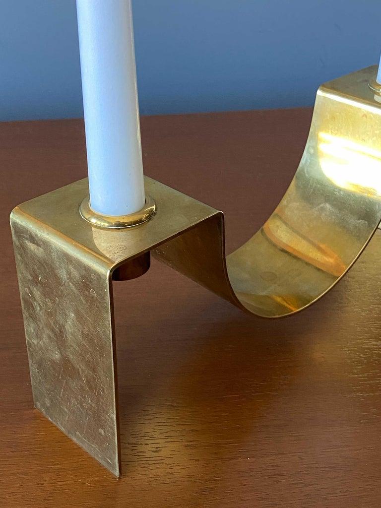Mid-Century Modern Sigurd Persson, Candlestick / Candleholder, Brass, Signed, Studio, Sweden, 1950s For Sale