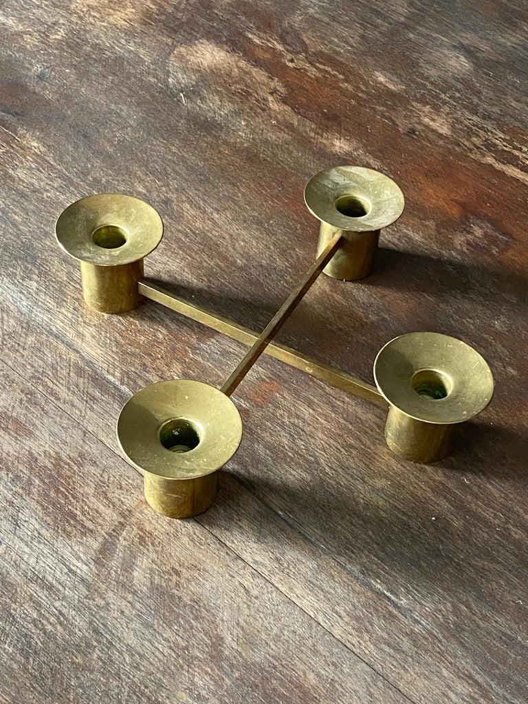 Sigurd Persson, Modular Candlesticks / Candelabras, Brass, Signed, Sweden, 1950s For Sale 4