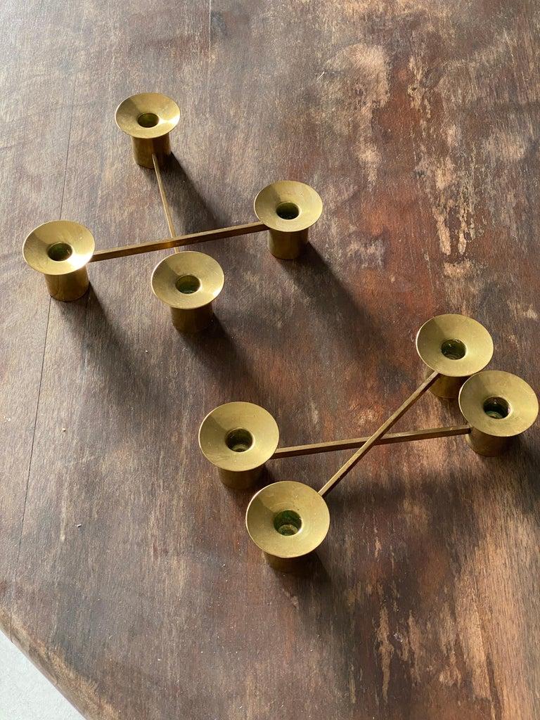Mid-Century Modern Sigurd Persson, Modular Candlesticks / Candelabras, Brass, Signed, Sweden, 1950s For Sale