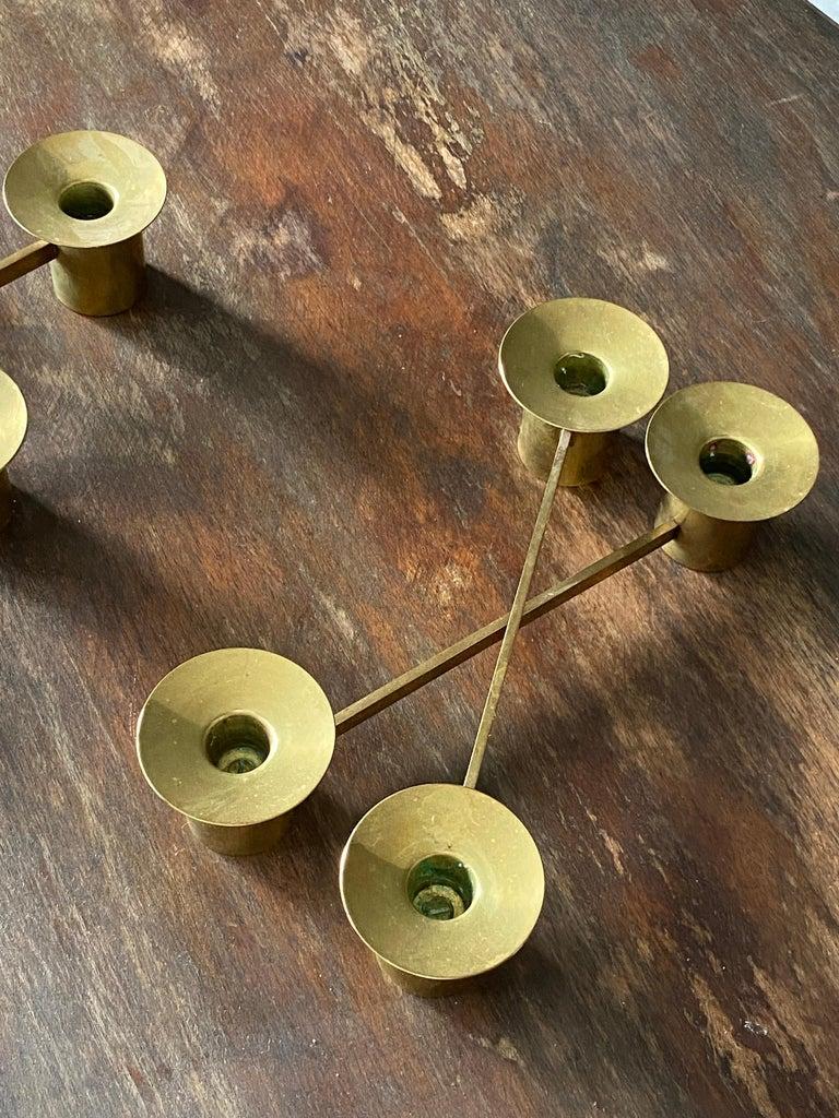Swedish Sigurd Persson, Modular Candlesticks / Candelabras, Brass, Signed, Sweden, 1950s For Sale