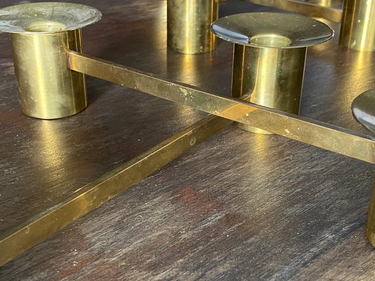 Sigurd Persson, Modular Candlesticks / Candelabras, Brass, Signed, Sweden, 1950s In Good Condition For Sale In West Palm Beach, FL